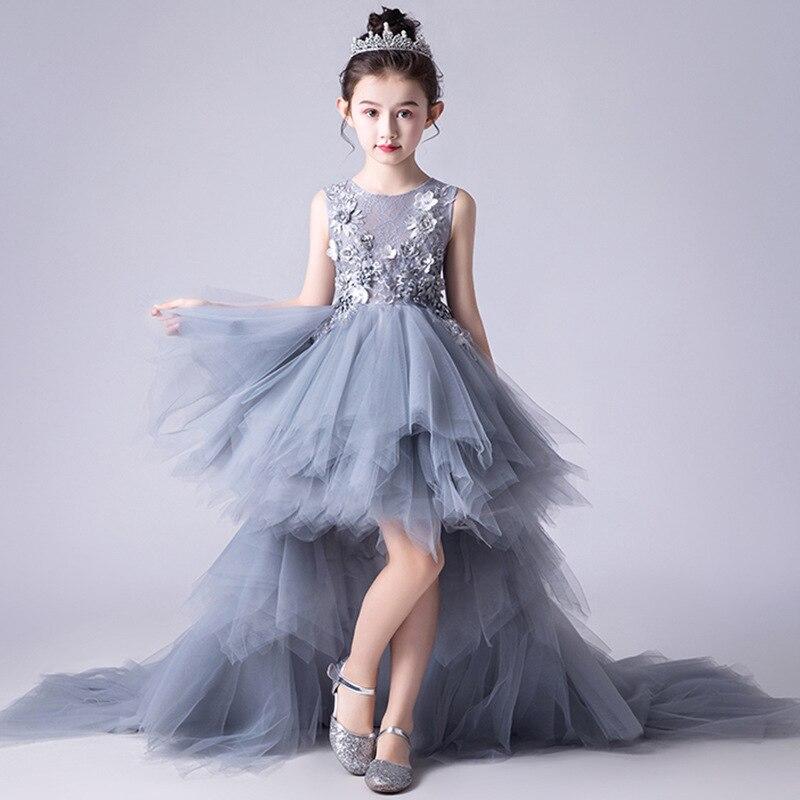 Girl'S Gown Gray Puffy Yarn Girls' Princess Skirt Wedding Dress Tailing Dress Stage Performance Piano Performance Wear Summer