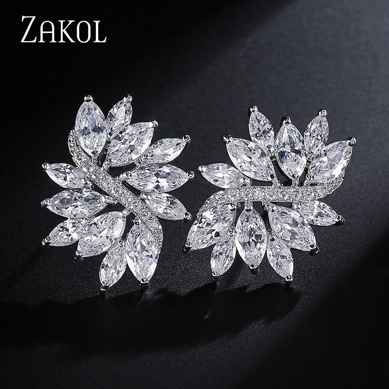 ZAKOL нежные кубические циркониевые кристаллы белого цвета ручной работы модные цветочные серьги-гвоздики для женщин Свадьба FSEP480