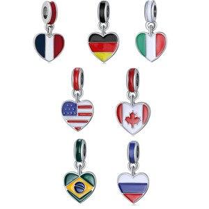 7 типов стран, цвет флага сердца, эмалированный Шарм, бусины для самостоятельного изготовления ювелирных изделий, серебро 925 пробы, ювелирны...