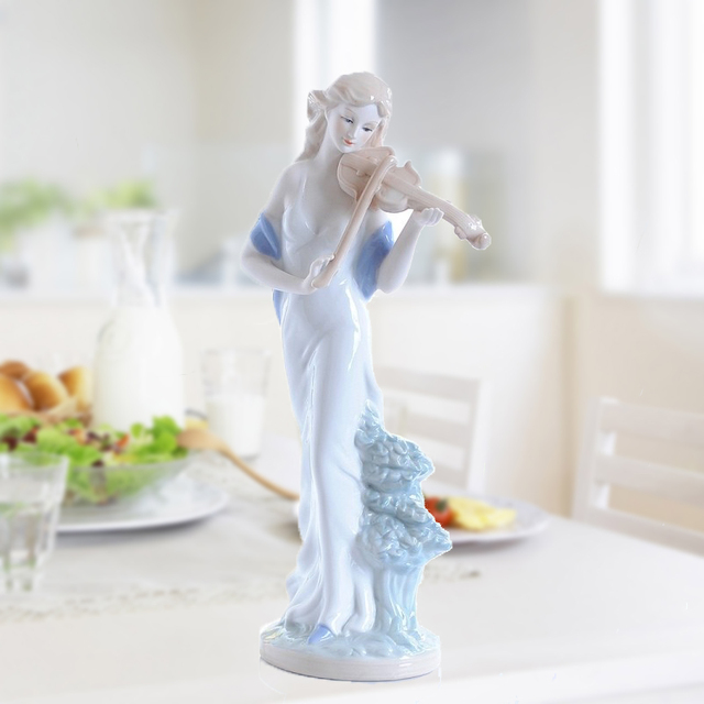 Europe Ceramic Beauty Figurines Home Furnishing Crafts Decoration Western Porcelain handicraft Ornament Wedding Gift A 3