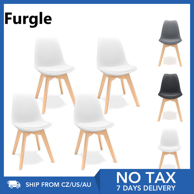 4Pcs/set Modern Style Chair Dining Chairs Plastic Shell Lounge Chair Natural Wood Legs Comfort Coffee Chairs with Seat Cushion 1