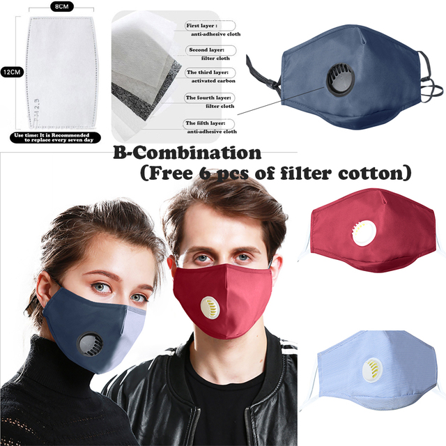 Face Mouth Mask Respirator Reusable Unisex Mask Breathable Anti-dust Haze Flu PM2.5 Face Masks Care For Travel Cycling D30