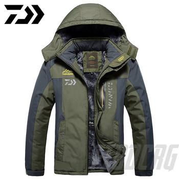 2020 nowy DAWA gruba kurtka wędkarska zimowa wodoodporna odzież wędkarska mężczyźni ciepły polar kolarstwo wędkarstwo płaszcz ponadgabarytowy rozmiar M-9XL tanie i dobre opinie