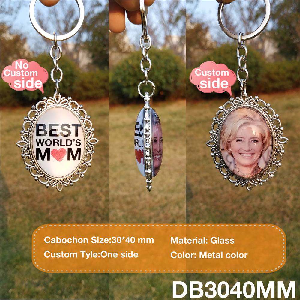 Custom Photo DIY Double Side BEST MOM DAD Personalized Key Chain Keyrings Customized Glass Cabochon Family Keychain Gifts