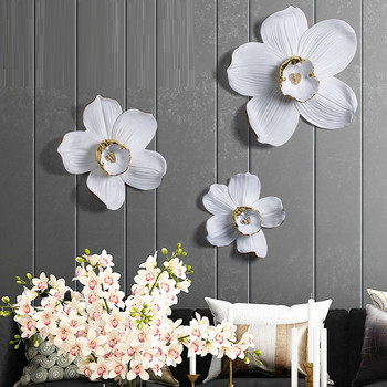 American 3D Stereo Orchid Wall Decoration Resin Crafts Decor Flowers Wall Ornament Wall Hanging Sofa Mural Accessories R2748