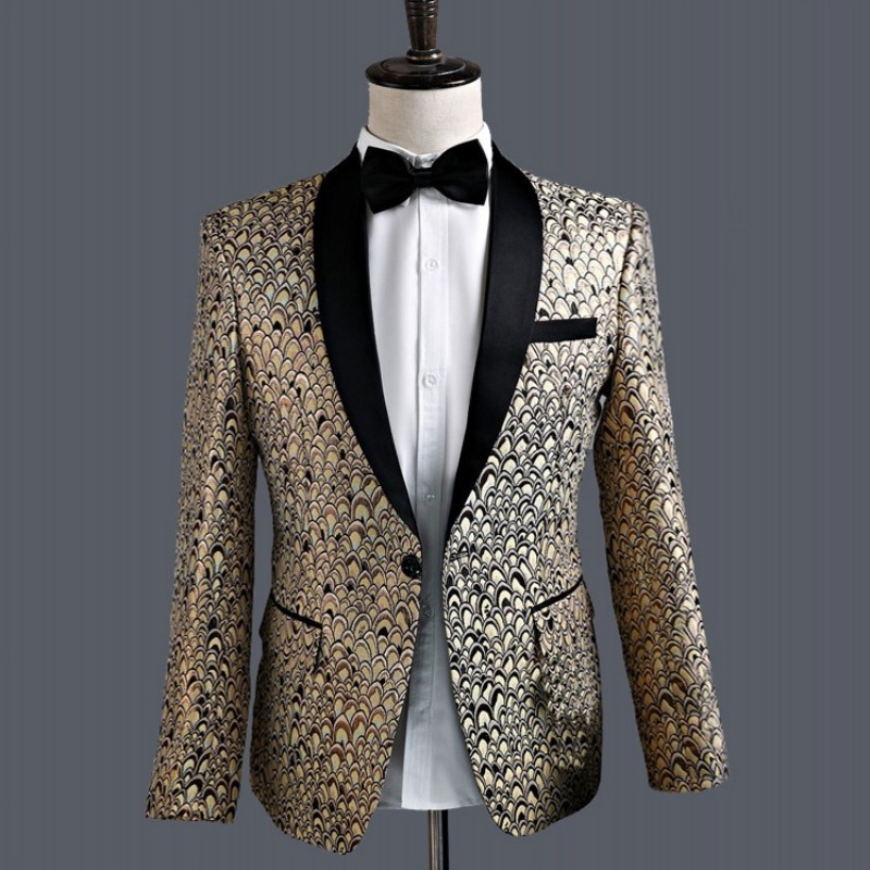 2 Piece Jacket With Pants Wedding Suit Mens Gold Printing Slim Fit Lapel Marriage Dress Clothes Performance Stage Costumes Coat