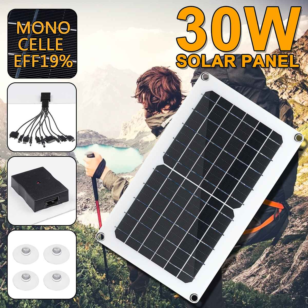 <font><b>Solar</b></font> <font><b>Panel</b></font> 30W <font><b>5V</b></font> <font><b>Solar</b></font> Cell USB Monocrystalline <font><b>2A</b></font> <font><b>Solar</b></font> charger Output Outdoor Camping Working with One to Ten Data Cable image
