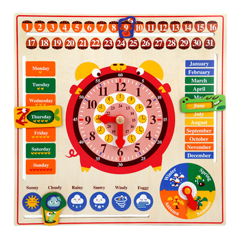 Montessori Wooden Toys Kids Cognitive Calendar Weather Time Season Early Learning Clock Preschool Educational Teaching Aids children s wooden toys enlightenment early education learning card english spelling cognitive puzzle montessori teaching aids