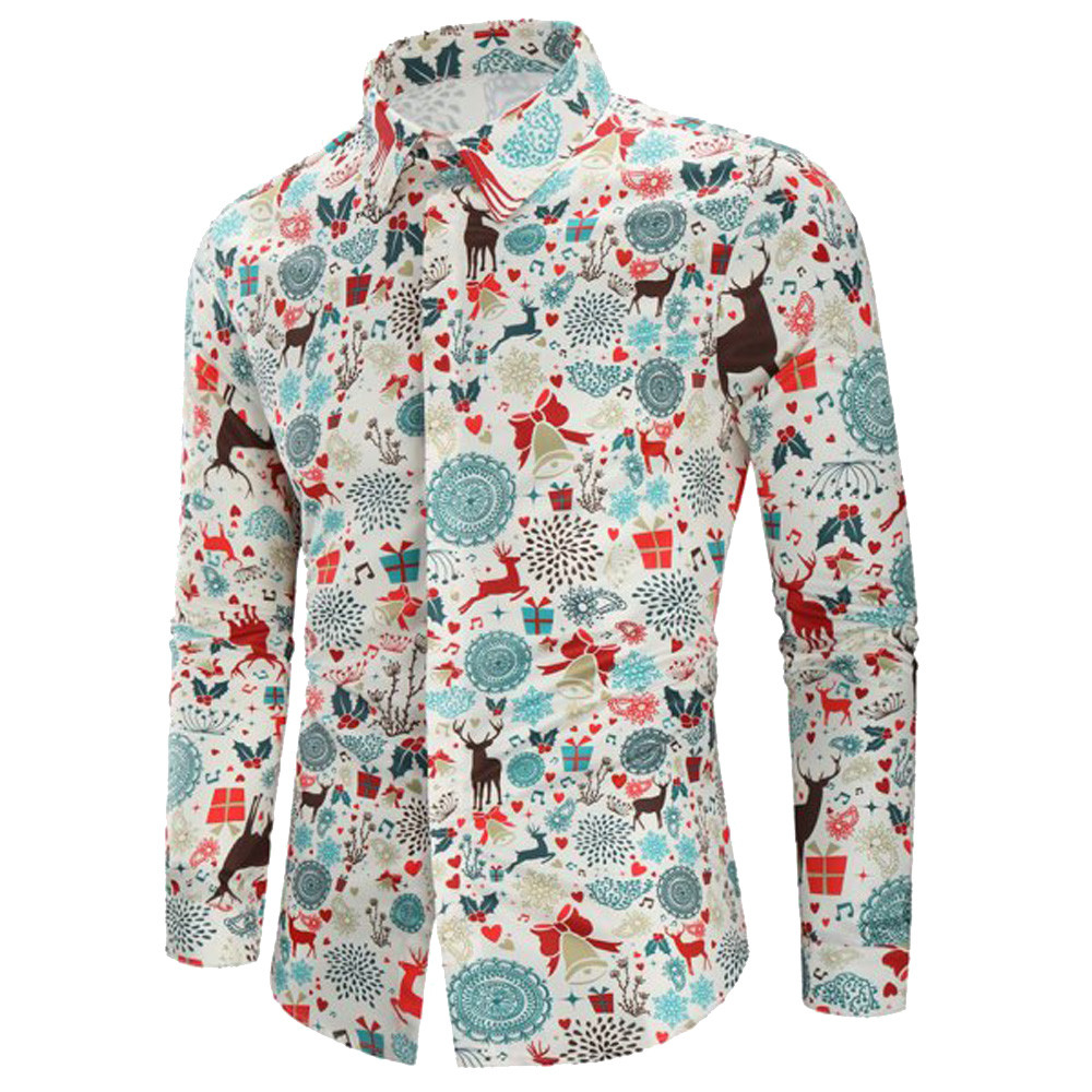 Merry Christmas Streetwear Elk Men Shirt Casual Christmas Chemise Homme Chic Print Shirt Top Blouse Flower Printed Mens Shirts