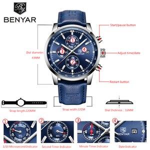 Image 2 - BENYAR relojes de marca de lujo para hombre, cronógrafo de cuarzo, deportivo, automático, con fecha, de cuero, Masculino, 2020