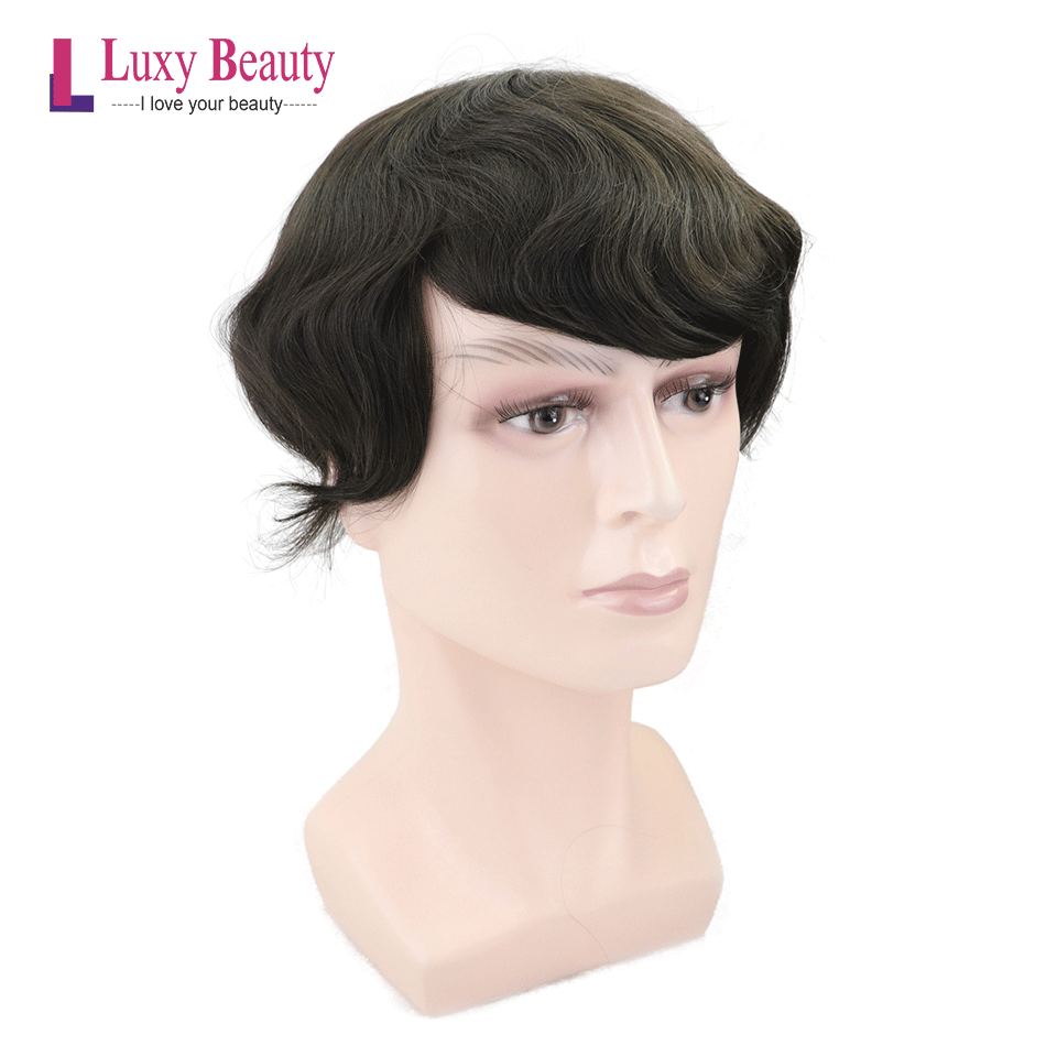 MTO-I Luxy Beauty Human Wig  8''x10''Men's Toupee Remy Thin PU Skin Durable Hair Piece Replacement System For Indian Men Hair 3#