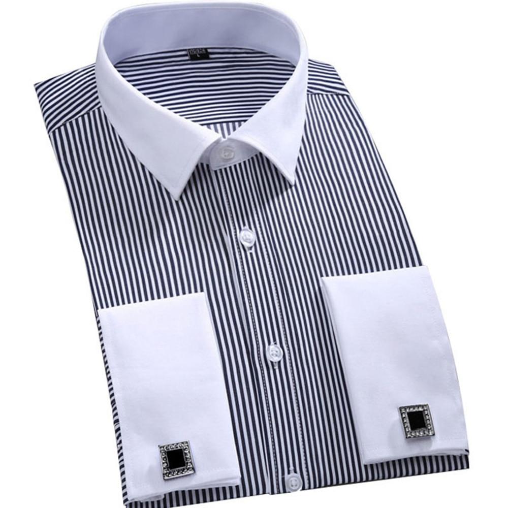 Men's Dress Shirts Loose French Cuff Regular fit Luxury Striped Business Long Sleeve Cufflinks Social Pluse Size Men Shirt 6XL 19
