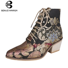 BONJOMARISA New Autumn Drop Ship 35-43 Brand Embroider Booties Ladies High Heels Ankle Boots Women 2019 Fashion OL Shoes Woman