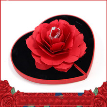 цена на 3D Pop Up Red Rose Flower Ring Box Wedding Engagement Box Jewelry Storage Holder Case