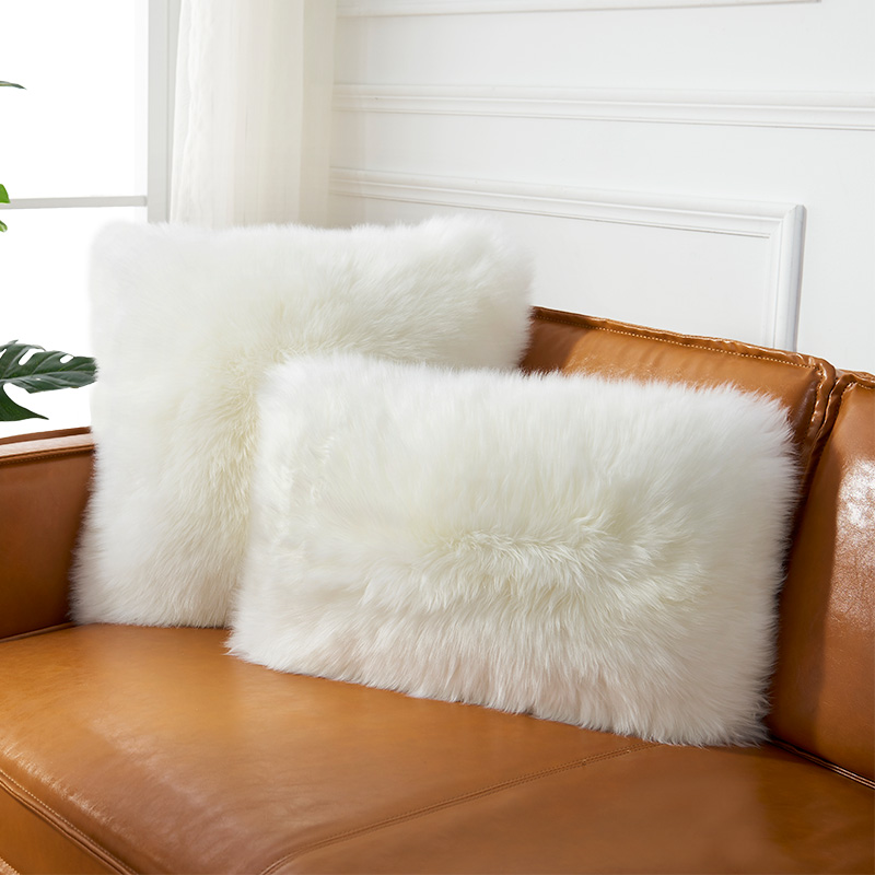 Natural Beige White  Sheepskin Fur  Back Cushion Single Side Fur Decoration Lamb Sheep Fur Pillow Throw With Core  SALES