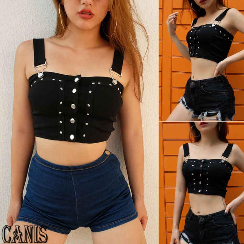 Lato nowych kobiet Tank Camis kamizelka jednolity czarny przycisk Bodycon Slim Sexy moda Crop topy S M L