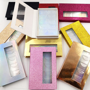 Image 1 - NEW 10/20pcs wholesale false eyelashes packaging box 3d fake mink lashes boxes faux cils strip 5pair magnetic case empty