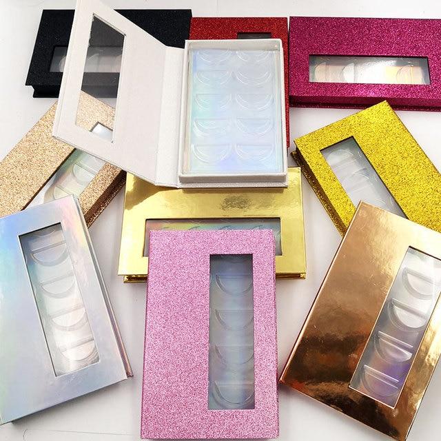 Novo 10/20 pçs atacado cílios postiços caixa de embalagem 3d falso vison cílios caixas falso tiras 5 par magnético caso vazio