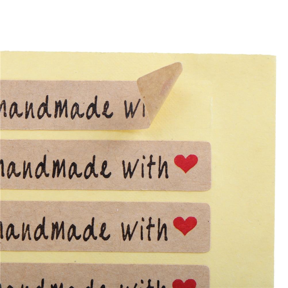 200 шт./лот ручная работа с надписью милое красное сердце узор упаковка самоклеящиеся Стикеры-этикетки
