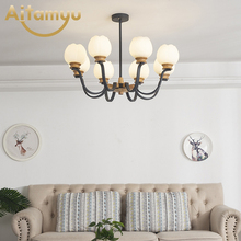 Nordic Wooden Chandelier Solid Wood LED Ceiling E27 With Glass Lampshade creative Lighting Fixtures Hanging Light