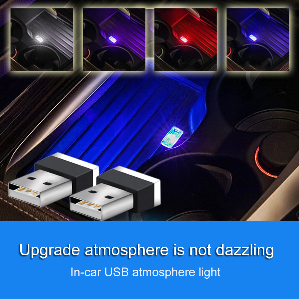 Portable Colorful LED Car Light Auto Interior USB Atmosphere Light Plug And Play Decor Lamp Emergency Lighting Car Accessories