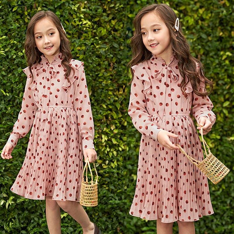 Платье принцессы для девочек детское осеннее шифоновое плиссированное