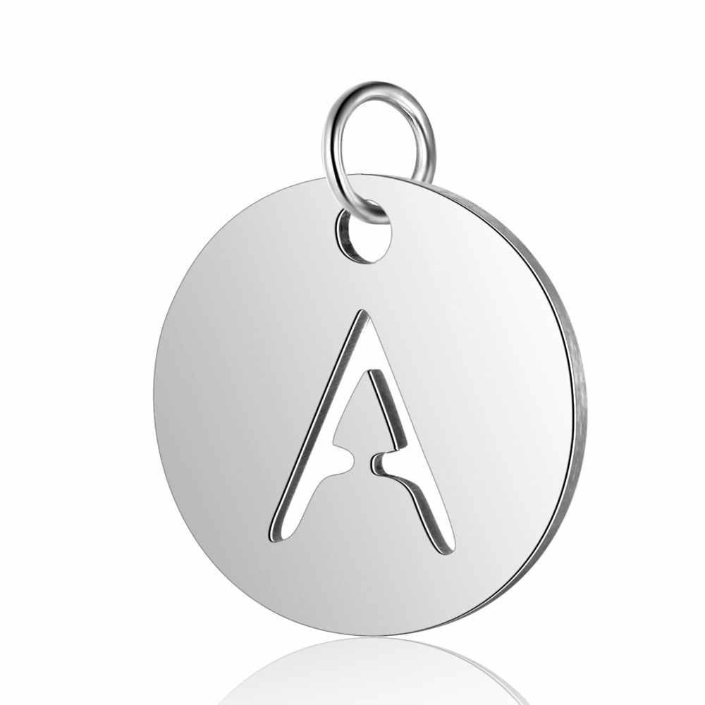 5 sztuk nazwa początkowa ze stali nierdzewnej A-Z litery urok hurtownie DIY biżuteria Charms komponenty do biżuterii DIY wisiorek