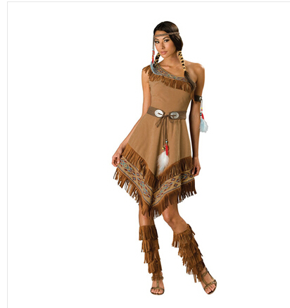 אישה בתחפושת פוקהונטס שמלה, מגפיים סרט לשיער