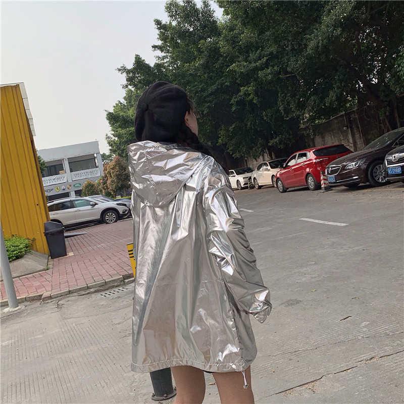 Herfst Hooded Bomber Jas Vrouwen Losse Zilver Zomer Dunne Jas Vrouwen Fluorescentie Hip Hop Jas Plus Size Streetwear Hologram