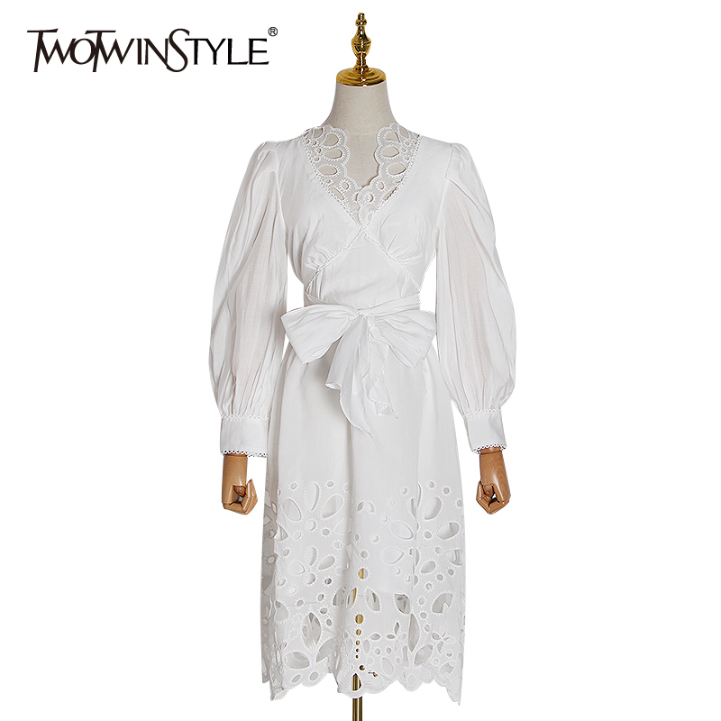 TWOTWINSTYLE Bowknot Patchwork Hollow Out Dress For Women Long Sleeve High Waist Lace Up Dresses Female 2020 Spring Fashion New