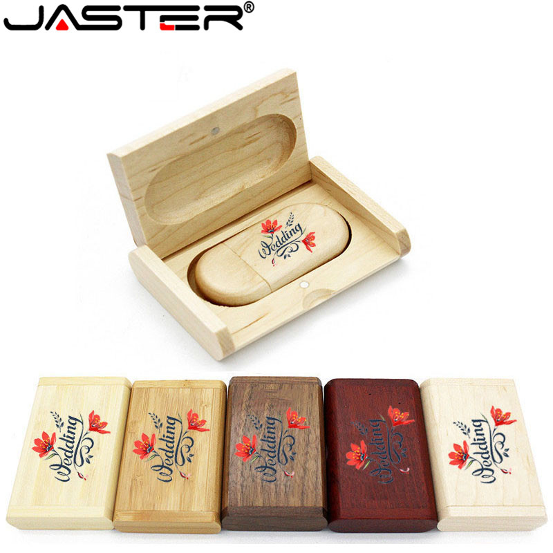 JASTER High Quality Wooden Logo Engrave Wood USB Flash Drive 4GB 8GB 16GB 32GB 64GB Wedding Gift Flash Memory Card Pen Drive
