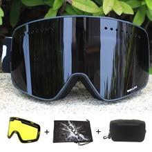 แม่เหล็กคู่ชั้นเลนส์แว่นตาสกีหน้ากากAnti Fog UV400สโนว์บอร์ดแว่นตาสกีแว่นตาสกีสำหรับผู้ชายผู้หญิงกรณี