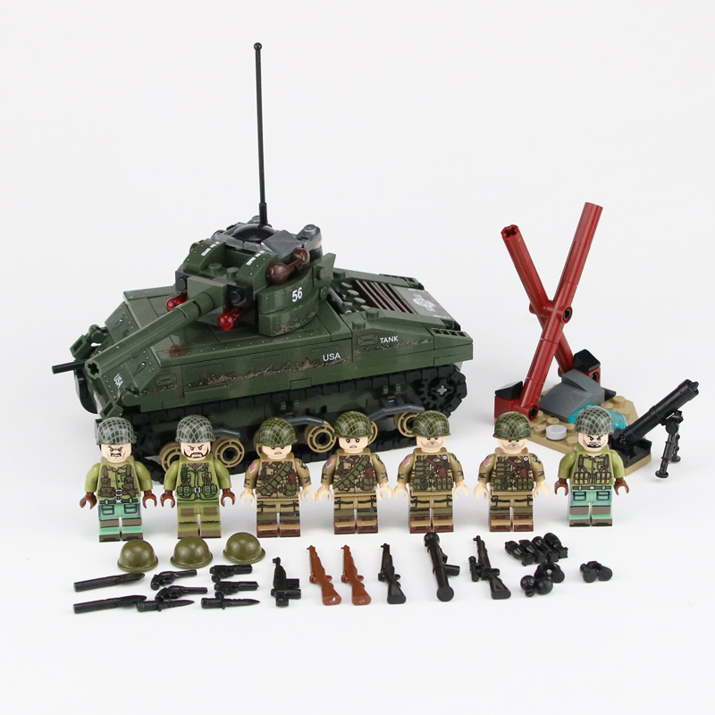 WW2 Military US Sherman M4 Tank Model Building Blocks US Army Soldiers Figures Weapons Accessories Bricks Educational Gift Toys