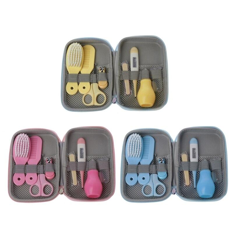 8Pcs/Set Newborn Baby Kids Nail Hair Health Care Thermometer Grooming Brush Kit
