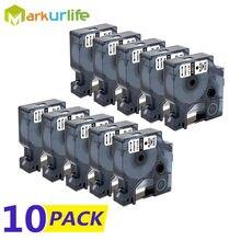 Étiquettes autocollantes de remplacement pour imprimante Dymo LabelManager, ruban adhésif D1 A45013(S072053), 12mm (1/2