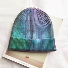 Chapeau à hologramme Laser, Chic et scintillant, style Hip Hop, Yuppie, Cool, Skate, hiver, musique, bonnet fessier