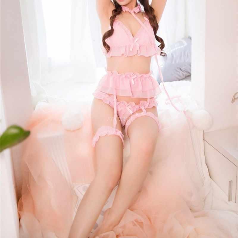 Japońska bielizna damska Sexy Cosplay komplet bielizny wzburzyć laleczka bobas Teddy strój biustonosz Pantie Nightie z Choker podwiązki zestaw