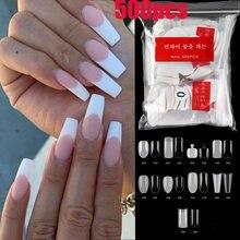 500 шт/пакет прозрачные белые накладные ногти длинные французские