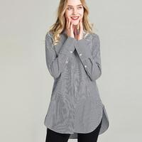 HAVVA women's early spring 100% cotton O neck thin striped midi shirt blouse C3168