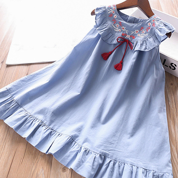 5215 Denim Embroidery Princess Baby Girl Dress 2020 New Summer Party Wedding Kid Dress For Girl Wholesale Children Clothes Lot