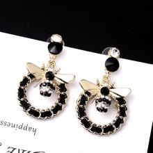 Korean  Cute Bees Flash Drill Earrings Geometric Weaving african women korean drop earrings jewelry
