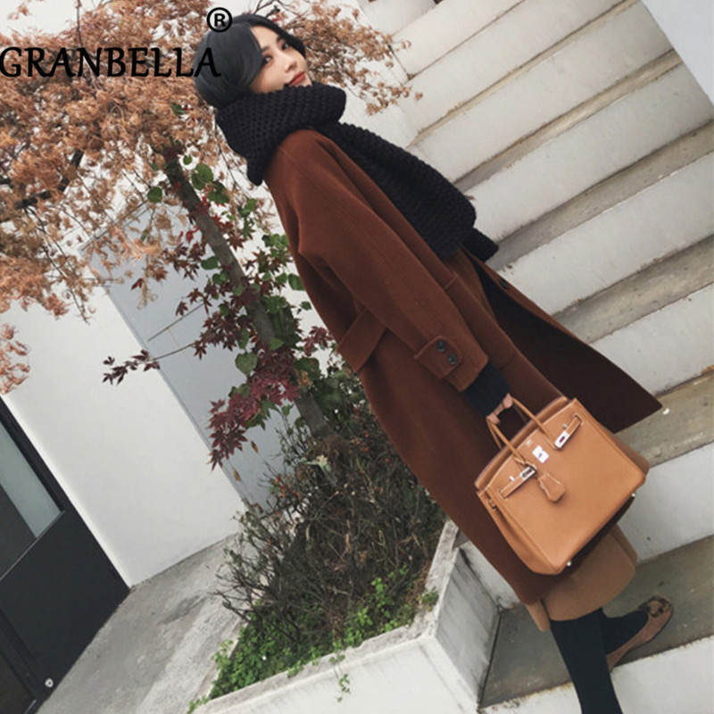 New Caramel Color Korea Long Woolen Coat Women Single Breasted Big Pocket Belt With Waist Solid Color Casual Loose Female