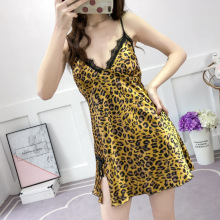 Printed Sleepwear Leopard Sleepshirts Women Night Gown Sexy Lingerie Womens Clothing Nightwear silk nighty fashion mini