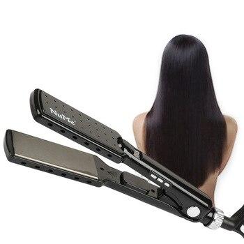 professional titanium hair straightener plate Two in one ceramic tourmaline ionic flat iron hair straighten electric  brush