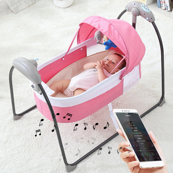 Bluetooth Control Swing Baby Rocking Chair Electric Baby Cradle Remote Control Cradle Rocking Chair For Newborns Swing Chair baby rocking chair baby electric rocking chair to appease the cradle bed children s dining chair rocking chair with remote cont