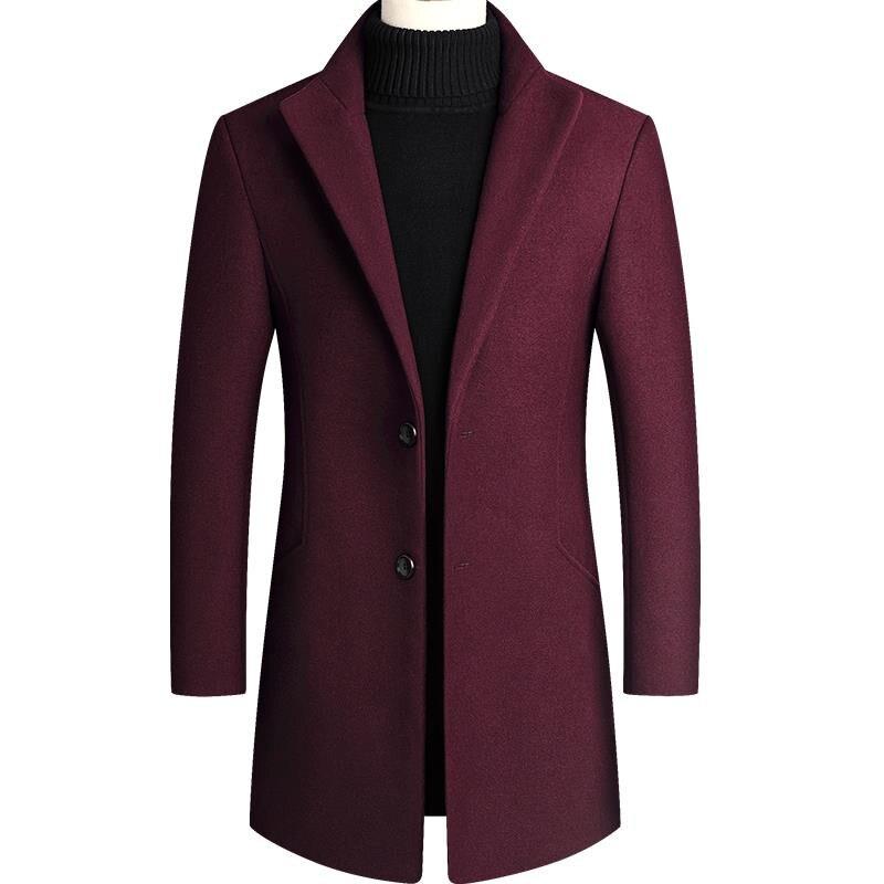 Autumn And Winter Coat Men's New 2019 Overcoat Slim Wool Men's Medium Long Woolen Windbreaker
