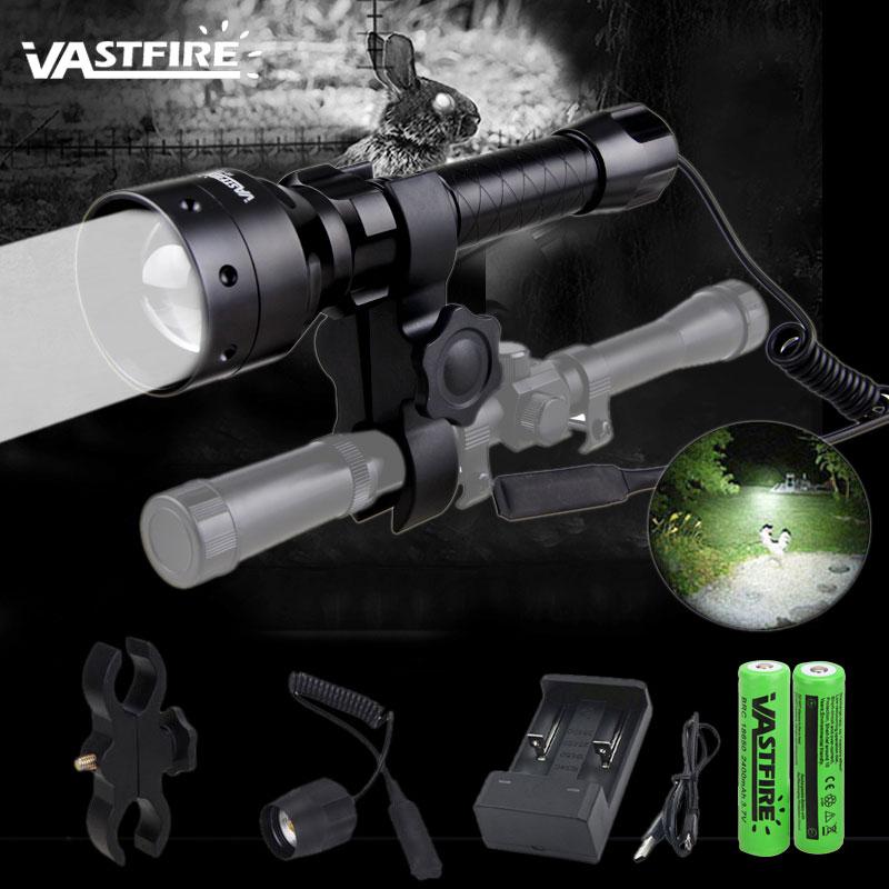 T50 white light LED Hunting Flashlight XP-E2 Tactical Flash Light Torch Zoomable Lamp Fishing Lantern 1 Modes Use 18650 Gun Moun