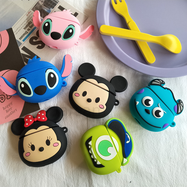 For Airpods 2 Case Silicone Stitch Cartoon Cover For Apple Airpods Case Cute Earphone 3D Headphone case Protective 2