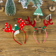 The New  Christmas Ornaments Decorations for Home Cute Cartoon Antlers Headband Hair Ring Cloth Accessories 2020