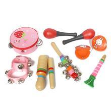 Деревянные детские развивающие погремушки для младенцев, перкуссионный набор инструментов, модели для мальчиков и девочек, детские барабанные погремушки против музыкального набора